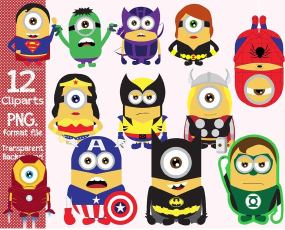 Despicable Me Minions Superhero 12 Clipart Transparent Background