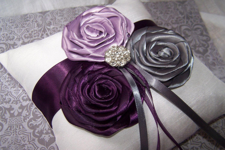 grey and plum wedding ring bearer pillow dark plum