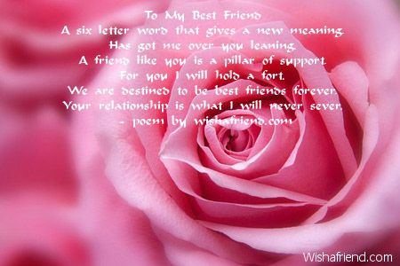 To My Best Friend A Six Letter Word That Gives A New Meaning, Has