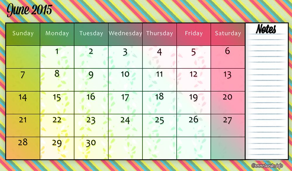 Print Your Own Free June 2015 Downloadable Calendar Free Printable