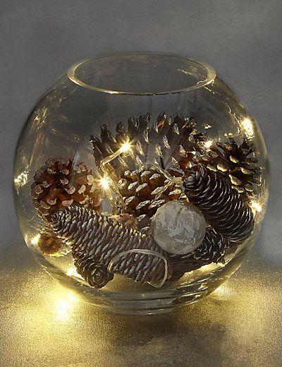 Silber Streutasche mit Lichtern #weihnachtsdekoglas