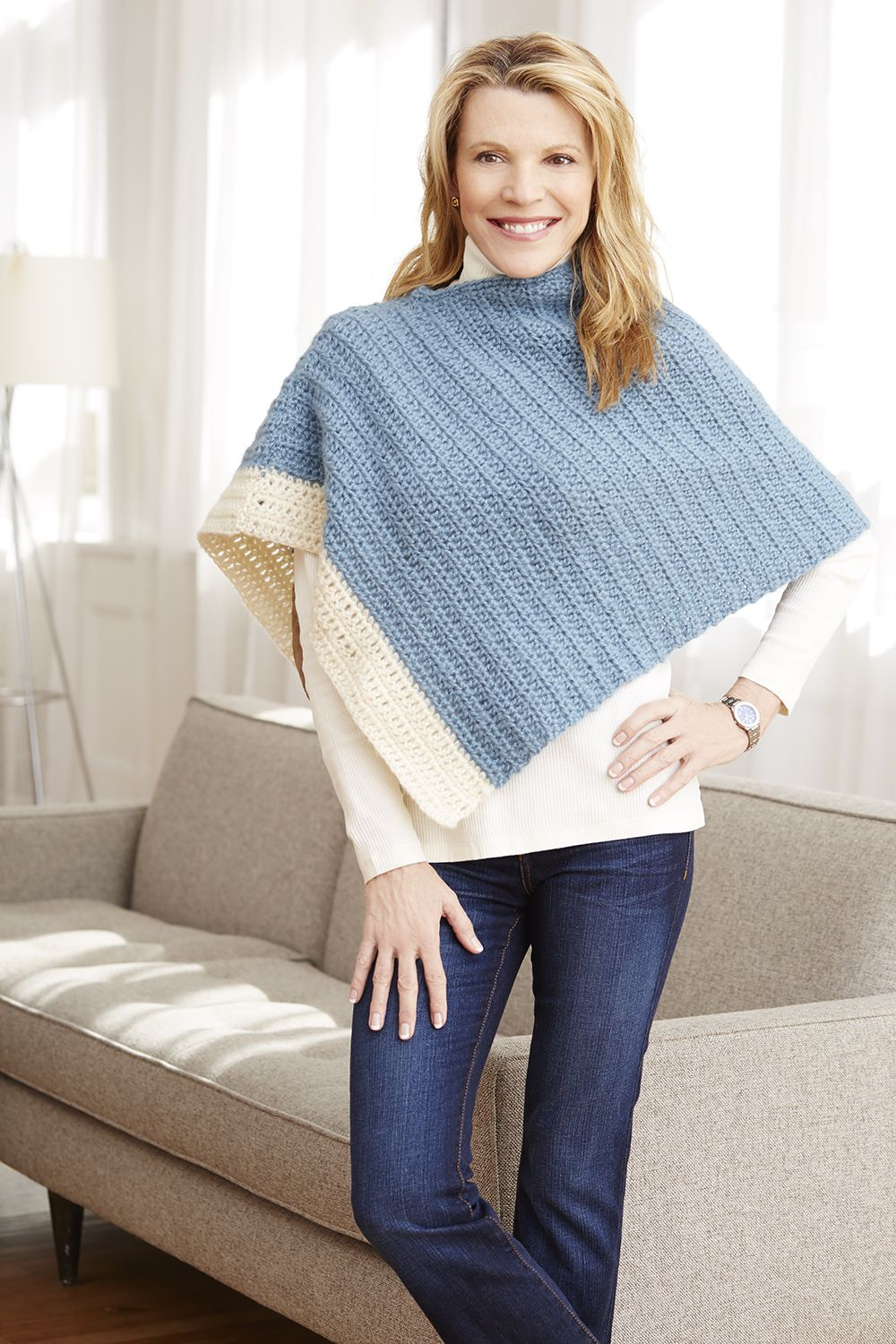 Make this chic two color poncho with Vanna\'s Complement. Free ...