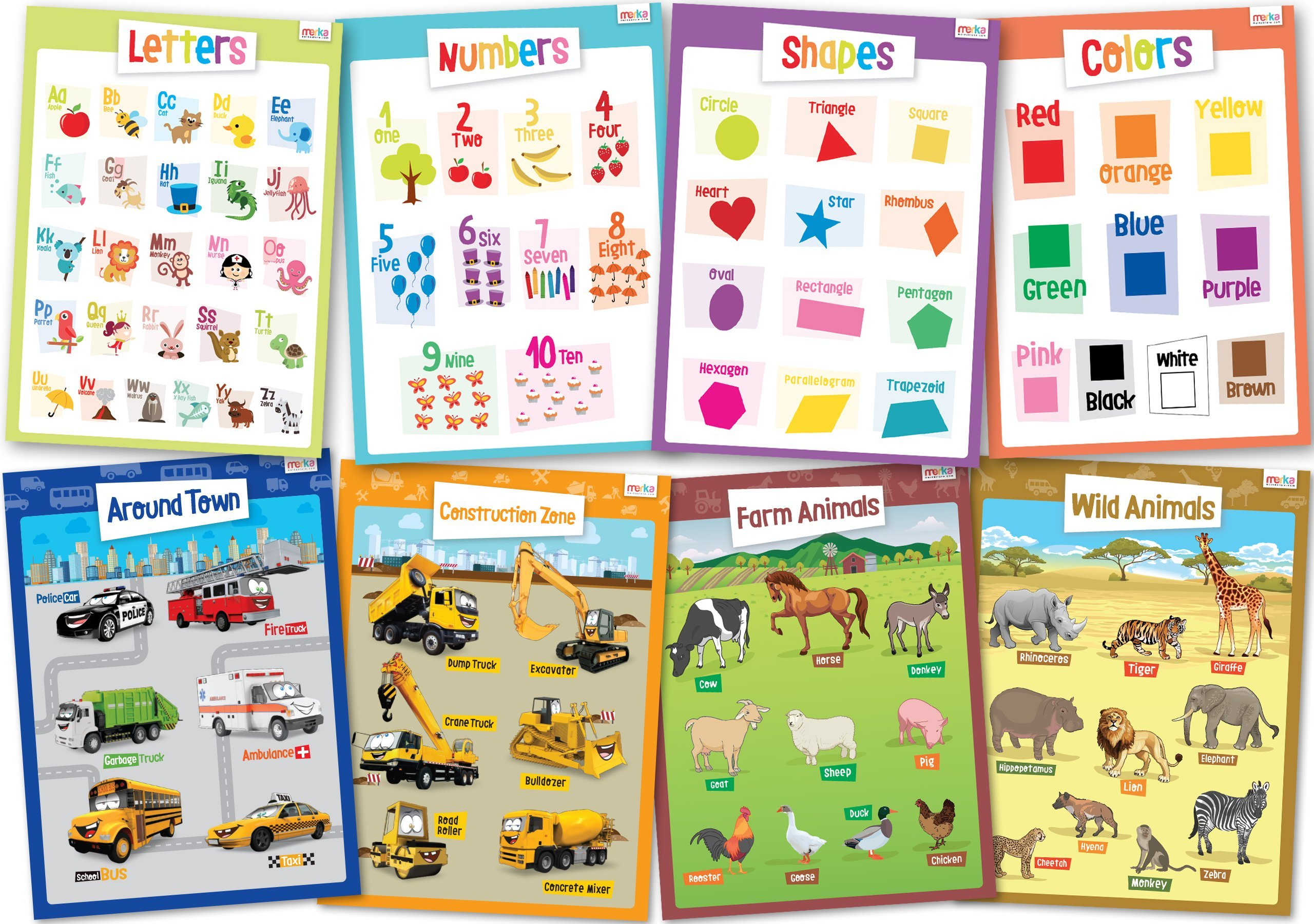 8 Educational Posters For Toddlers Learning Size 17x22
