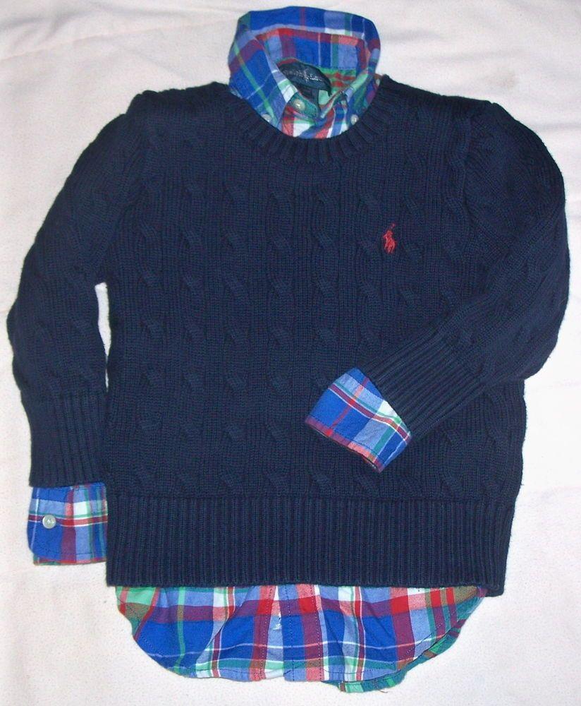 fb425be28723f Boys Ralph Lauren Polo Plaid Button Down Shirt Crewneck Sweater Lot ...