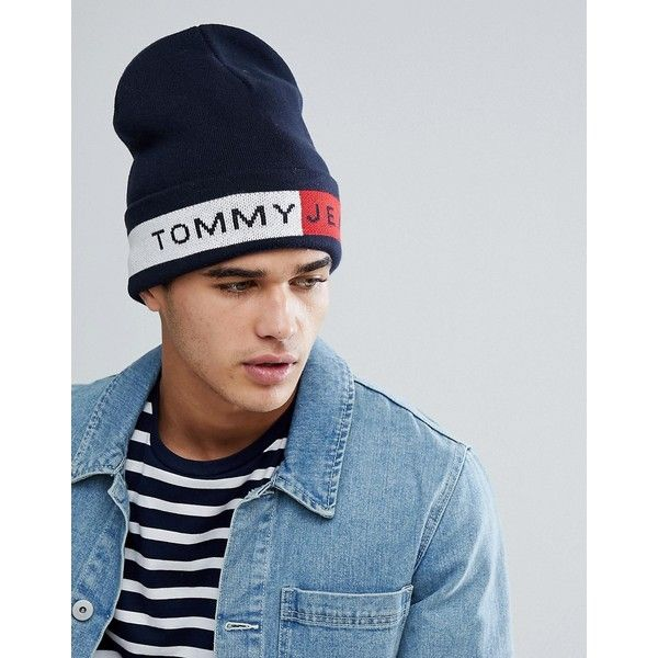 Oversize Icon Beanie in Navy - Navy Tommy Hilfiger SMIX2w