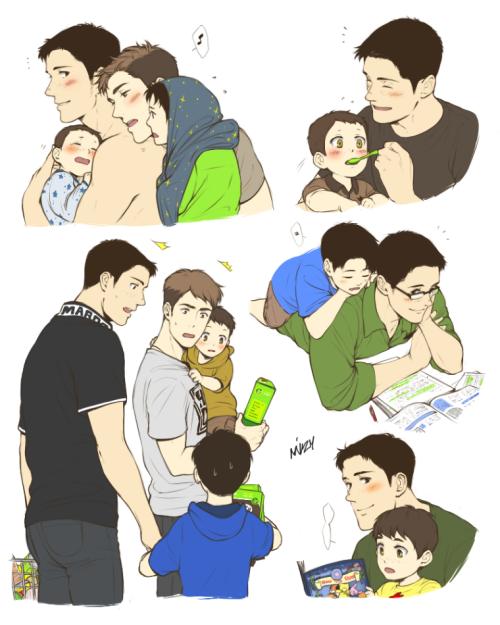 Daddy Marco doing dad stuff. (❁´▽`❁) || Jean x Marco ~ Attack on Titan AU || #mizy #SnK #AoT #JeanMarco #MarcoxJean #MarcoBodt #MarcoBott #JeanKirschstein #JeanKirschtein #Daddy!Marco #FamilyAU #Husband!Jean #Husband!Marco #Nico #Aimee || http://miyajimamizy.tumblr.com/post/97053934533/photoset_iframe/miyajimamizy/tumblr_nbmxu3aP6V1srldvk/500/false