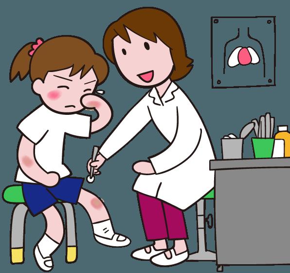擦り傷は元気な子どもの勲章 学校の体育の時間にけが 保健室で イラスト
