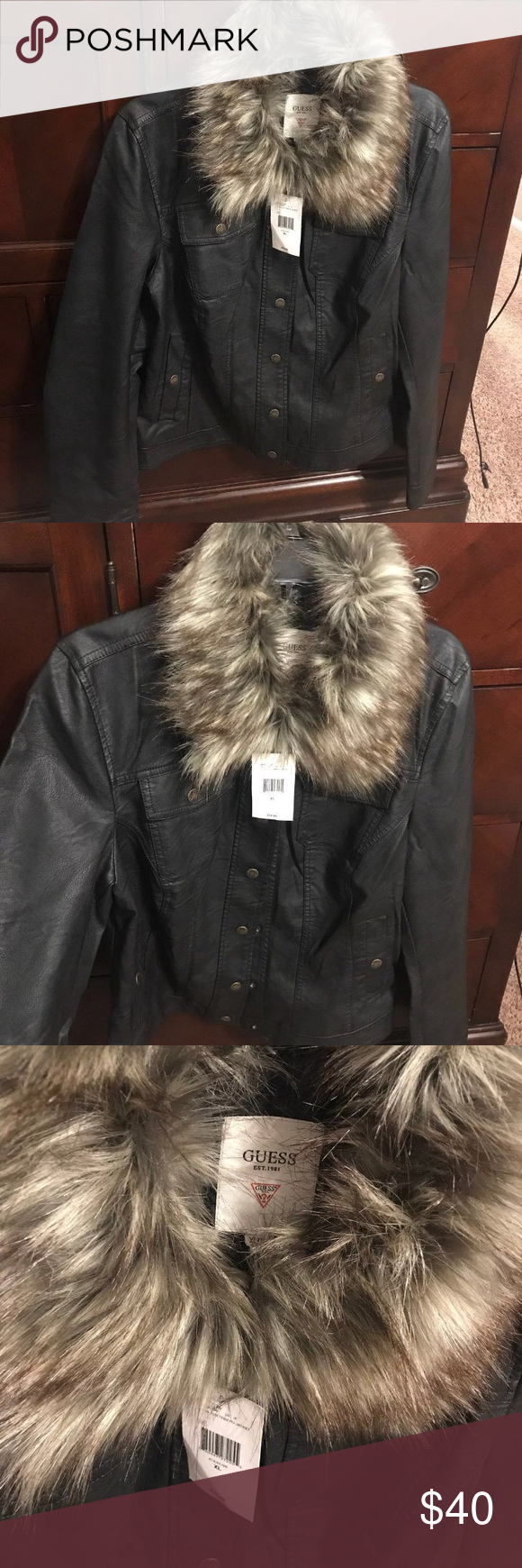 Guess leather jacket New authentic guess Jacket with