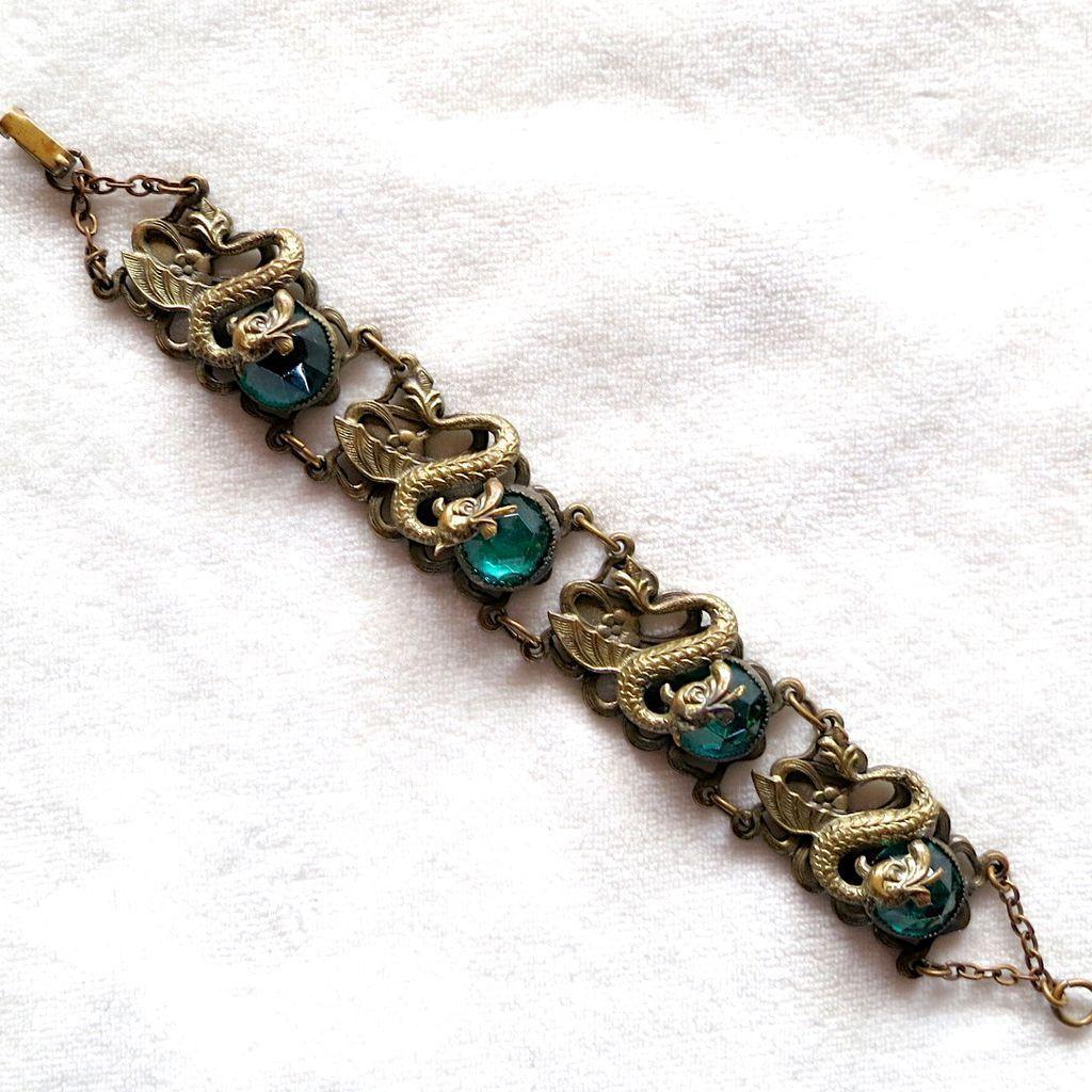 Czech mythical dragons & green Vauxhall glass cabochons bracelet