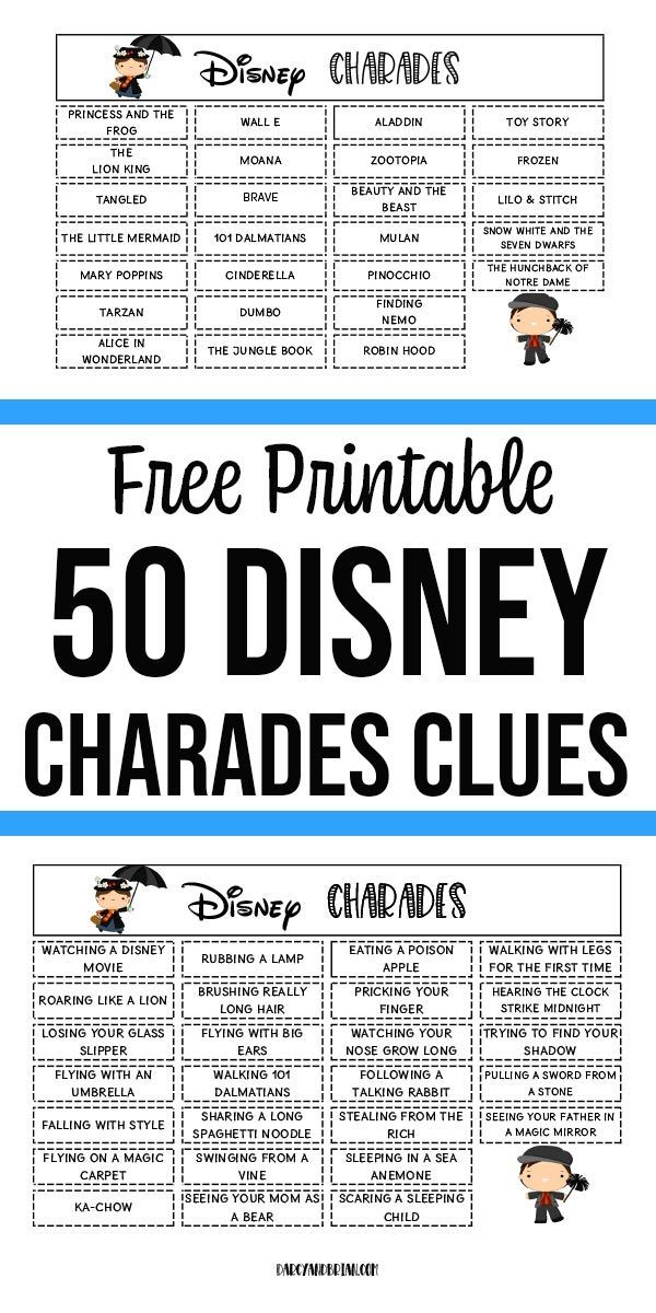 Printable Disney Themed Charades Game for Kids | Charades ...