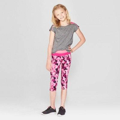 3411f427fceb Girls  Printed Performance Capri Leggings - C9 Champion Pink Prism ...