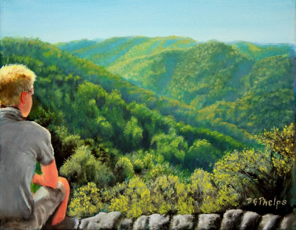 Crabtree Falls Painting Figure Painting Blue Ridge Mountain Painting Landscape Painting Oil Painting Landscape Landscape Paintings Fall Landscape Painting