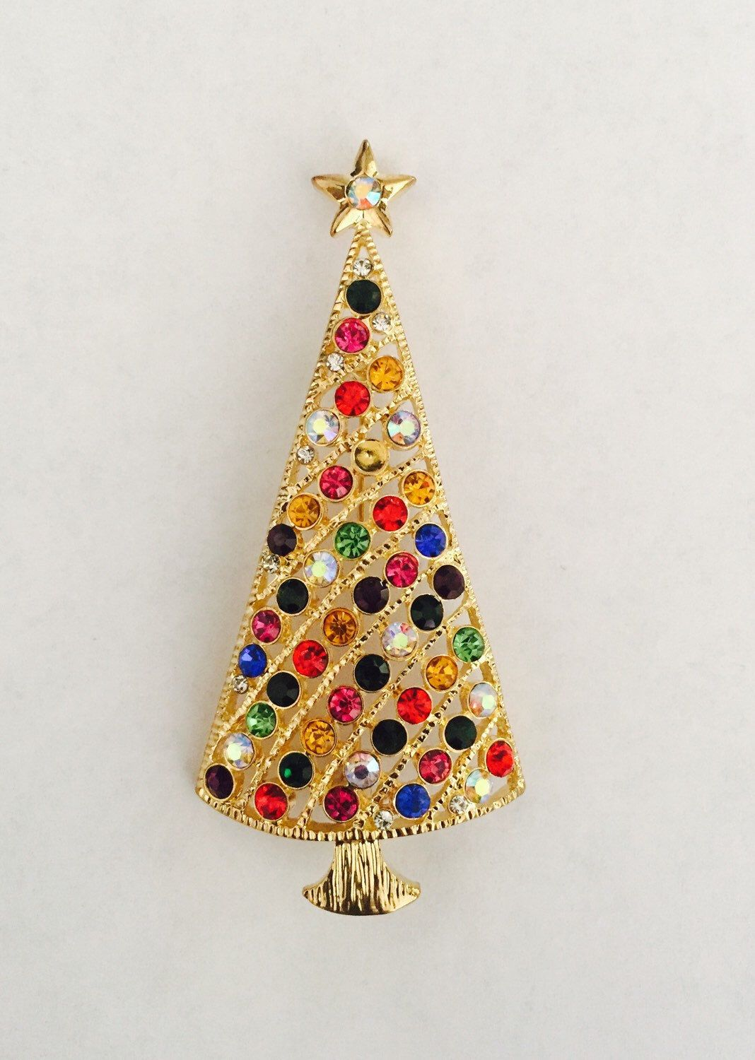 "Colorful Christmas Tree Brooch 3 x1 1/2"" Finishing Piece for Outfit Tote Purse Hat or Wedding Bouquet by shoppingforbeads on Etsy https://www.etsy.com/listing/260113149/colorful-christmas-tree-brooch-3-x1-12"
