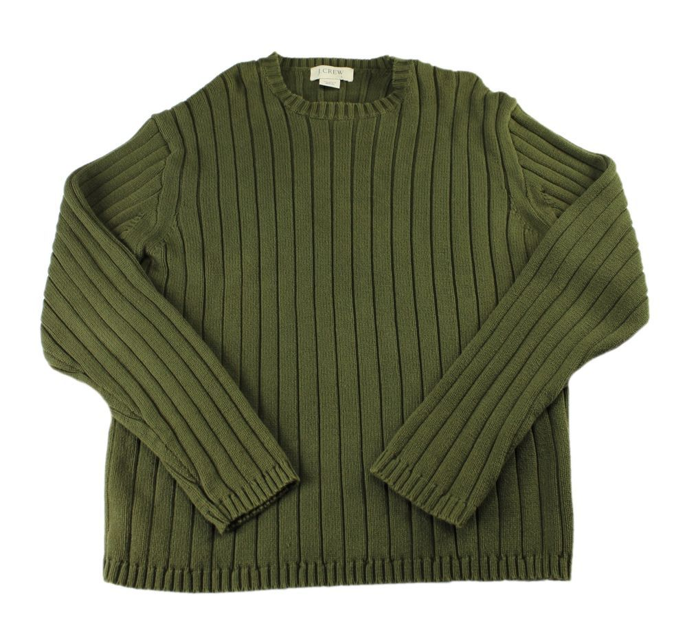 Crew Olive Green Ribbed Sweater Menswear Mens Size Large