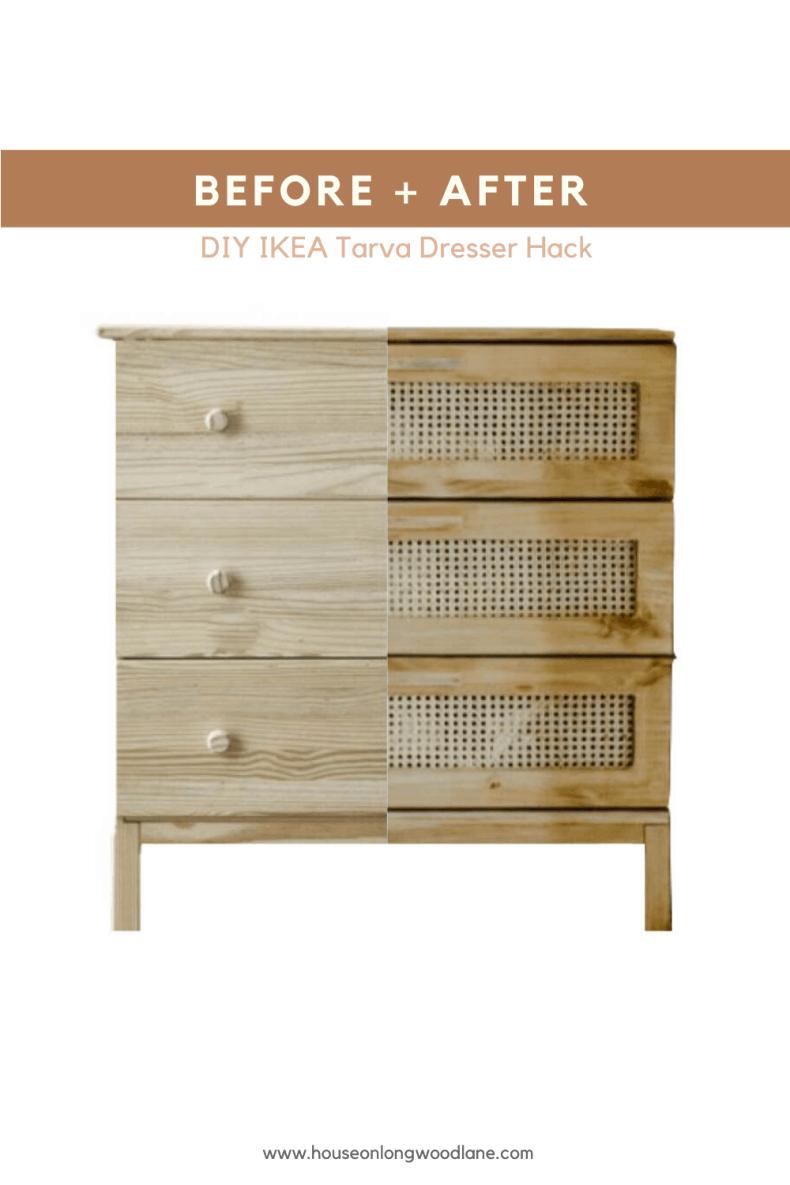 Diy Cane Dresser Ikea Tarva Dresser Hack House On Longwood Lane In 2020 Ikea Tarva Dresser Ikea Diy Ikea