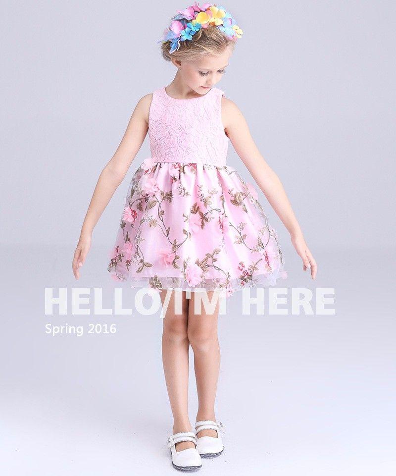 581968953d42 Aliexpress.com  Predám 3 12Y noví 2016 letné Kórea dievčatá trojrozmerný kvet  princezná šaty dievčenské večierok šaty dievčatko letné vesta šaty od ...