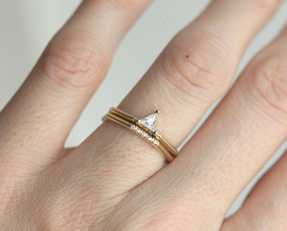 Dreieck Verlobungsring Fur Alternative Hochzeit Trillion Form Diamant Verlobungsring Mit Diamant Band Anillos De Boda Anillos Joyas