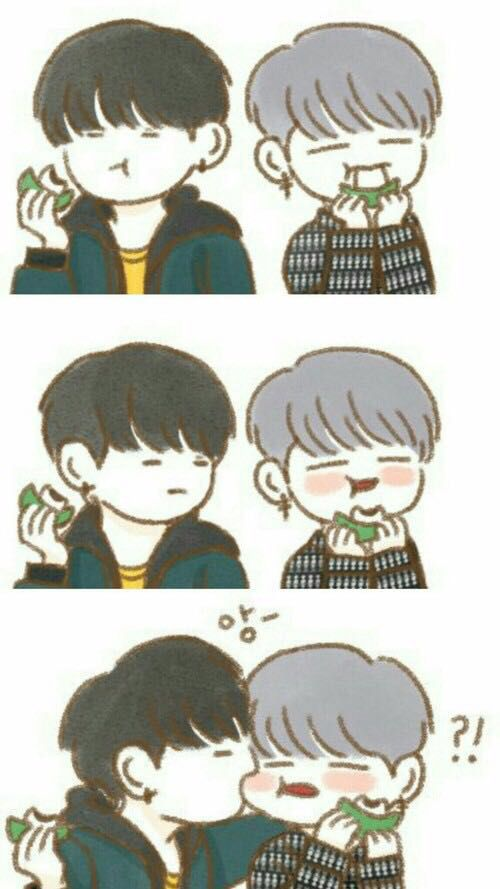 yoonmin and eat mochi cute