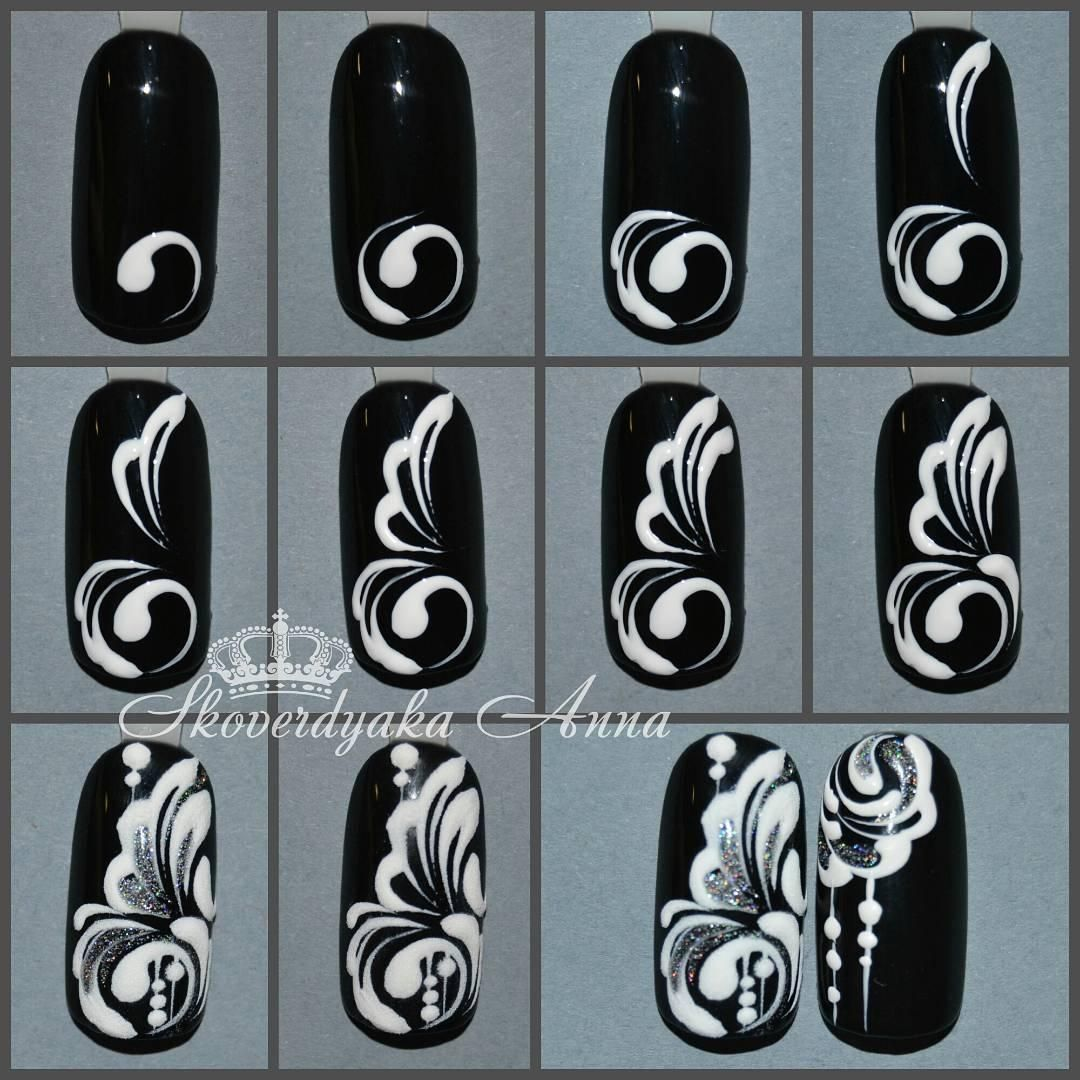 Схемы рисунков на ногтях фото