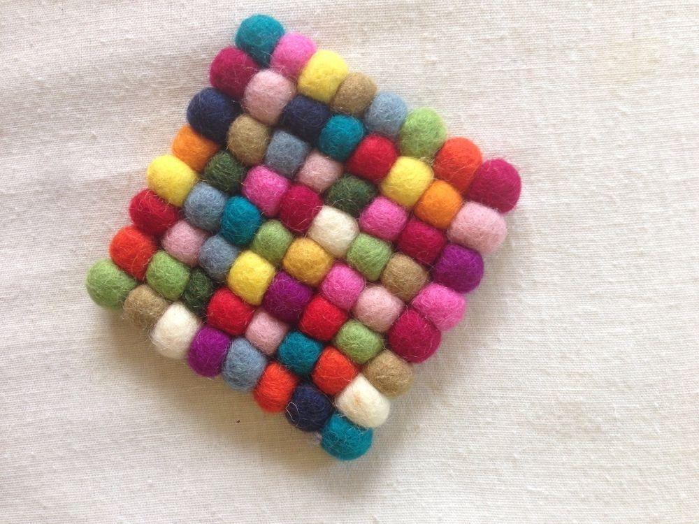 FeltNepal Mixed Colored Square Felt Ball Coaster, 10cmX10cm, 6 Piece, $24.99 #Handmade