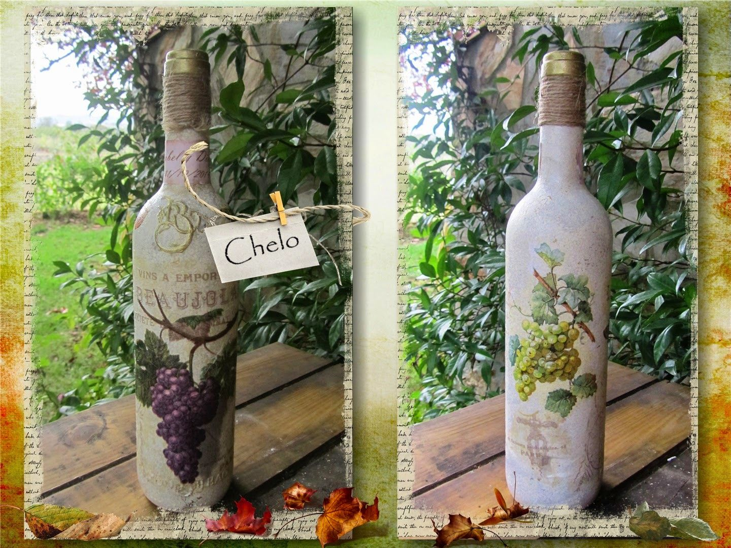 botellas vino uvas