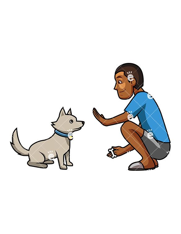 A Kind Black Man Trying To Teach His Cute Dog To Sit Man Dog