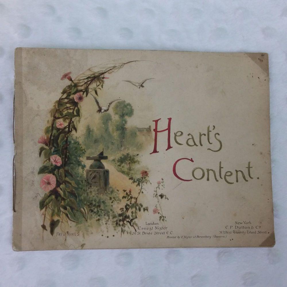 Vintage Heart's Content Booklet Poetry Floral Artwork Valentines Day Bavaria