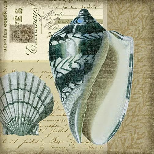 Indigo 4 By Suzanne Nicholl Graphic Art Plaque In 2021 Postcard Art Shell Art Vintage Postcards