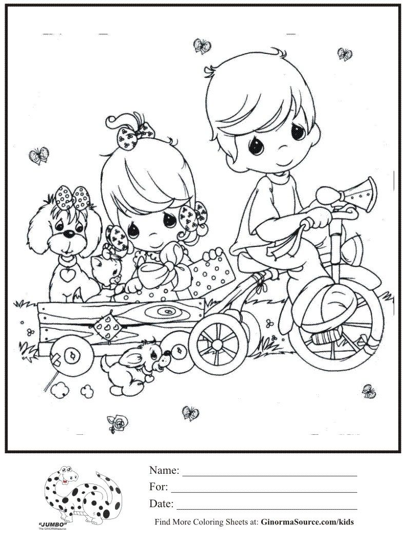 Kids Coloring Page Boy Girl Trike Pulling Wagon Coloring