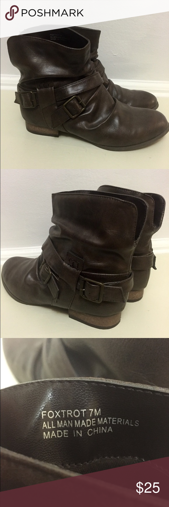 Diba Foxtrot Brown Ankle Boots Bootie 7 Diba Foxtrot Brown Ankle Boots Bootie 7. Decorative Side Buckles. Zip Up On The Side. Diba Shoes