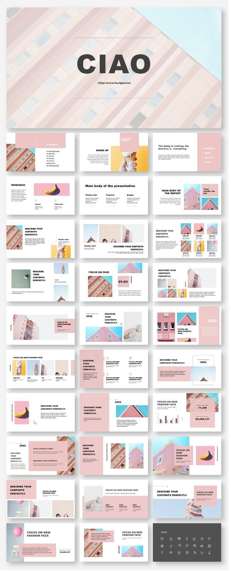 Creative Fashion Photo Layout Presentation Template – Original and high quality PowerPoint Templates download