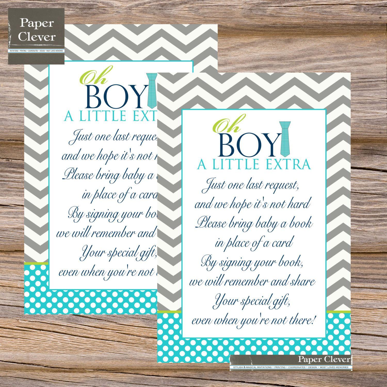 oh boy baby shower | Baby shower invitation book insert card, oh boy ...