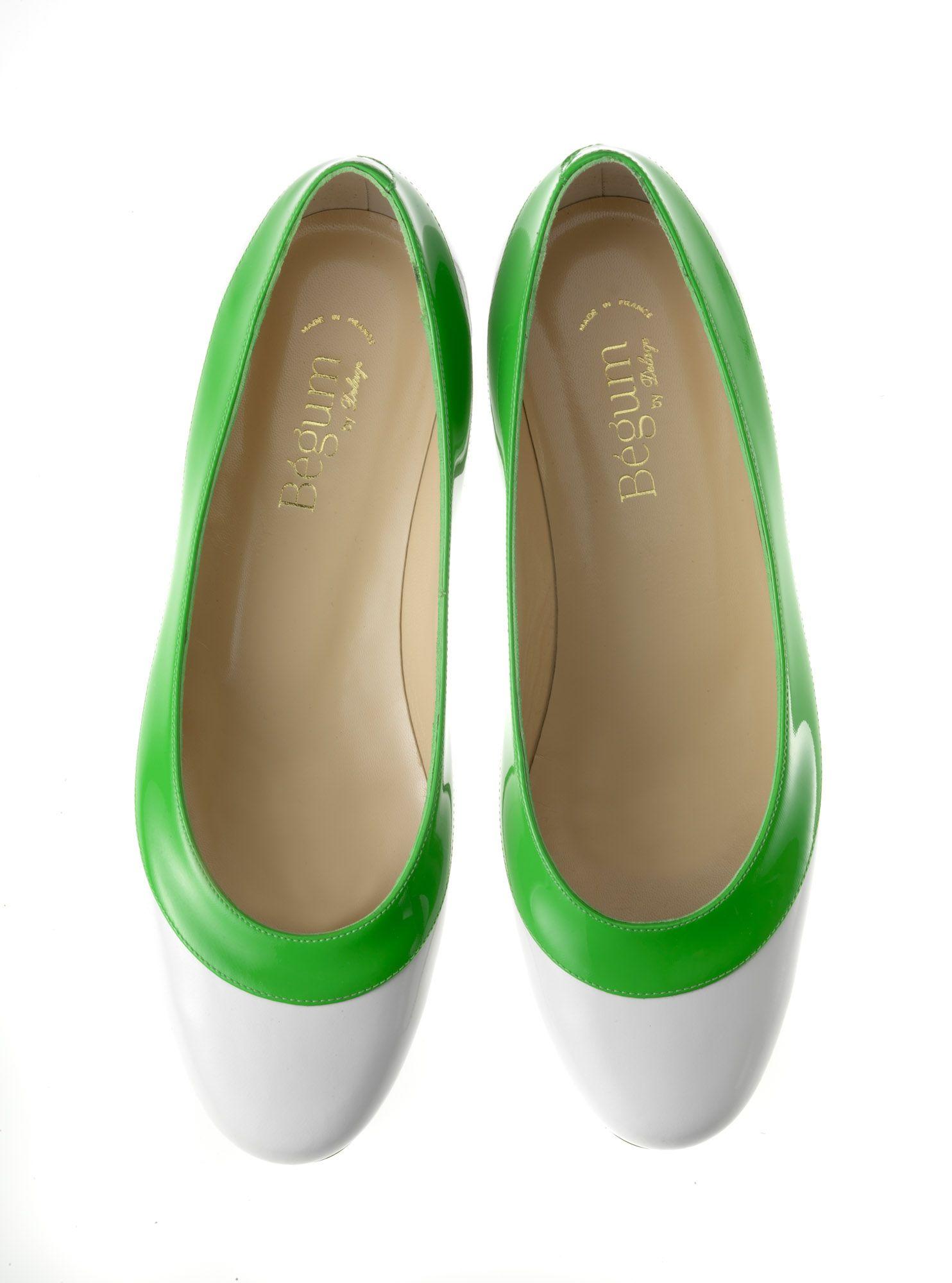 Ballerines vernies vertes et blanches