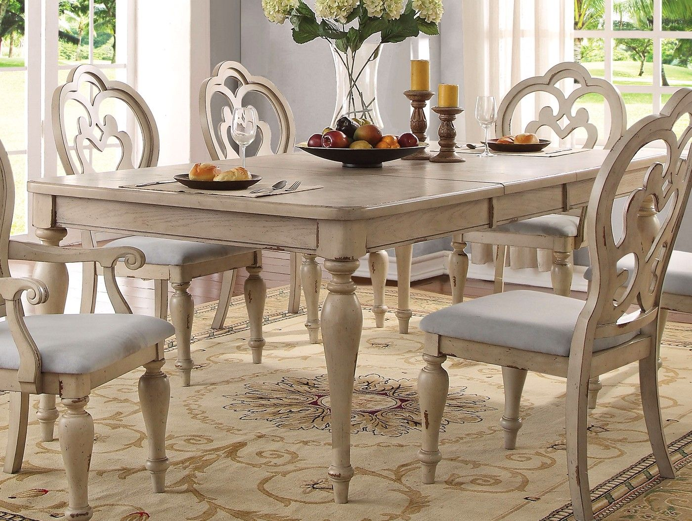 Absolon French Country 66 86 Dining Table In Antique White Finish