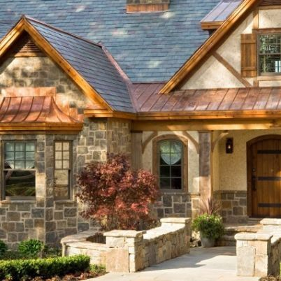 Copper Stucco Stone Great Combination I Wouldn T Have Thought Of Read Exterior House Colors House Exterior Rustic Exterior