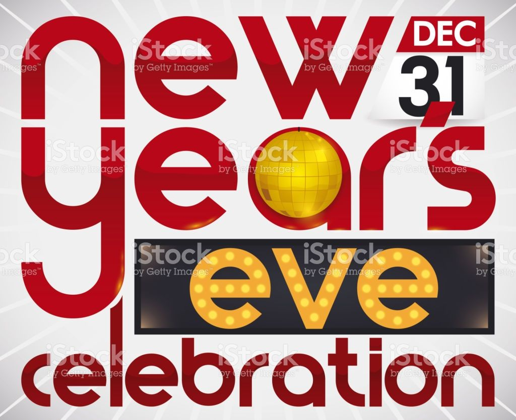 Red Greeting Text With Golden Ball And Light Sign With Electric Bulbs New Year Celebration Disco Ball Lighted Signs