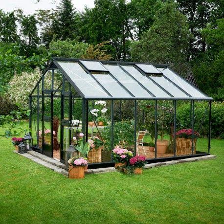 Serre de jardin JULIANA Gartner anthracite 16,2 m2 + verre trempé ...