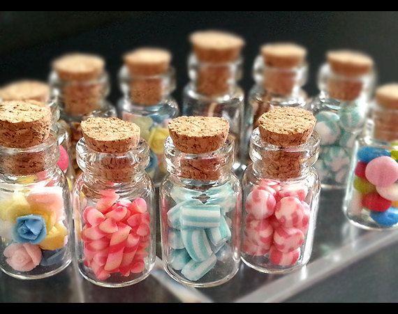 Miniature Candy Jar Glass Bowls Dollhouse Glassware Miniature 1:12 Scale Candies