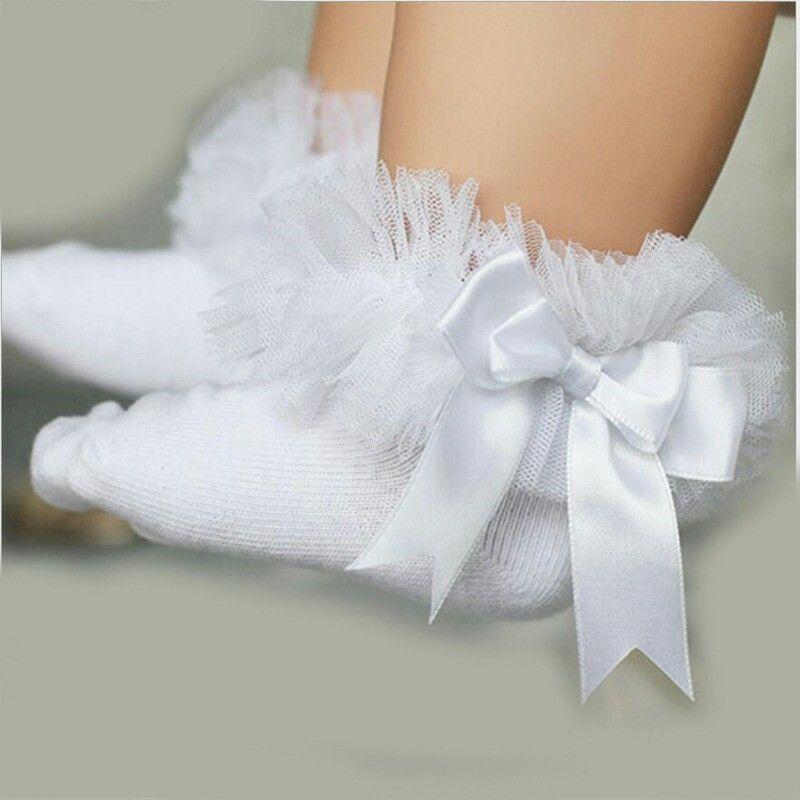 Bebé Niñas Chirstening Calcetines Calcetines Chicas Chicas Blanco Y Rosa Flor Encaje Calcetines