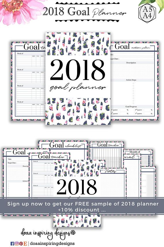 2018 goalsetting planner , goalsetting setting planner - sample to do list