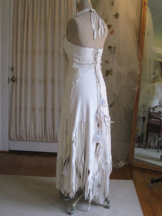 Balance due on White Leather Wedding Dress Native American Inspired ...