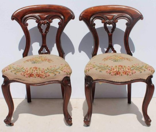 2 Antique Edwardian Carved Dining Room Chairs With Tappiserie Cape Town