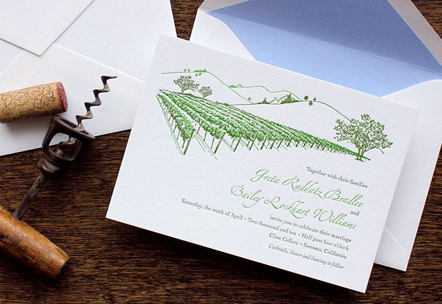California Vineyard Wedding Invitation Wine Country Sonoma Napa Sample Letterpress Or Flat Printed