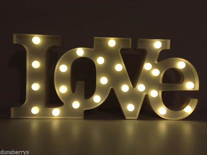 Large Light Up Battery Led Love Word Letters Wall Light Sign