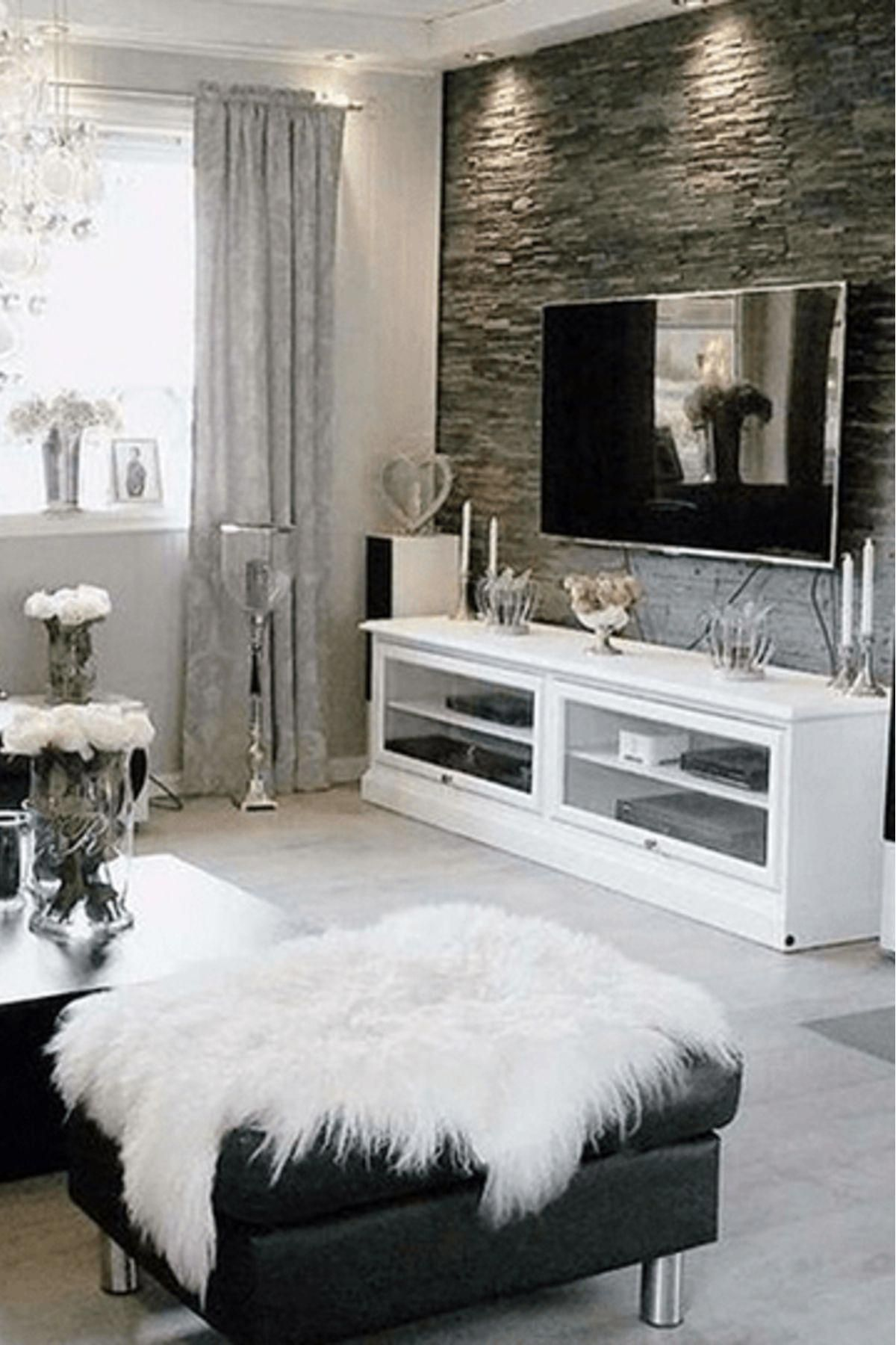 Home Decor Gray Living Room Decor Grey Walls With Mounted Flat Screen Tv White White Furniture Living Room White Living Room Decor Grey Walls Living Room