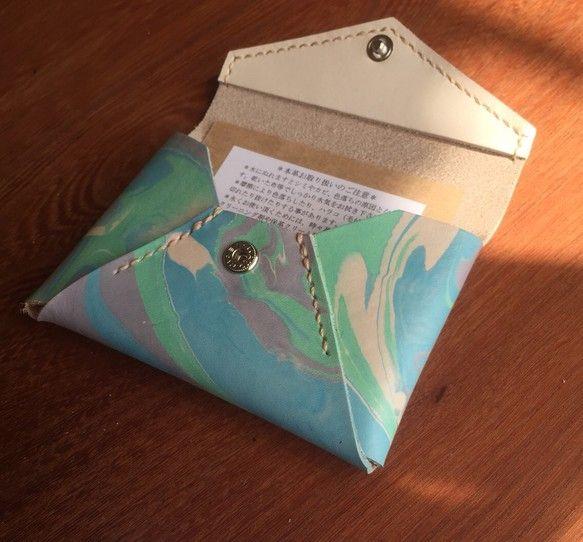 牛ヌメ革 マーブル模様のカードケース