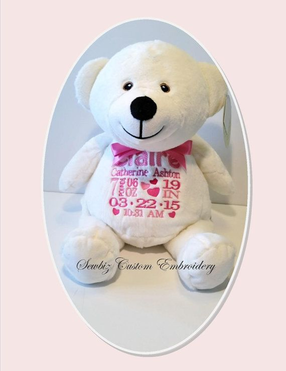 Personalized bear stuffed animal baby gift by sewbizembroiderytoo personalized bear stuffed animal baby gift by sewbizembroiderytoo negle Images