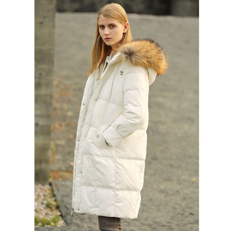 245d090ba0f Minimalist 90% White Down Long Jackets Women Winter 2018 Casual Solid  Raccoon Fur Collar Plus