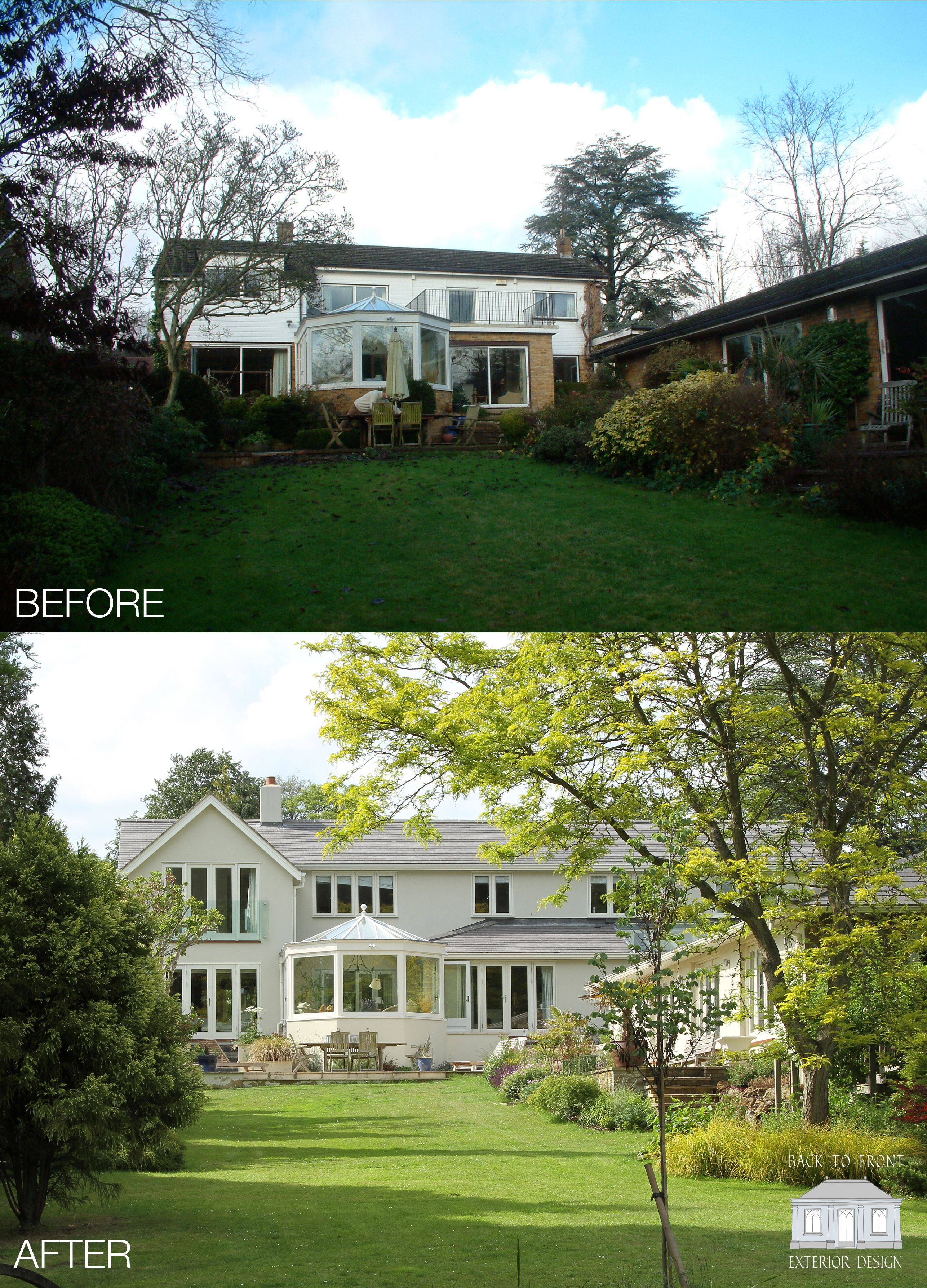 1960 S Before And After Remodelling Project In Guildford Surrey By Back To Front Exterior: Exterior Rear Transformation Of This 1960's Home In Surrey. By Back To Front Exterior Design