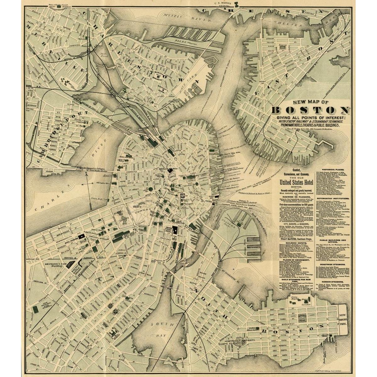 City of Boston Map, 1884 | Celebrating American Cities | Pinterest ...